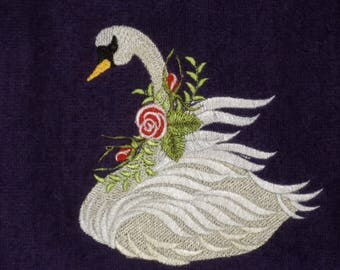 Designer Hand Towel, SWAN WITH ROSES, Embroidered, Velour Hand Towel, Terry Cloth Hand Towel, Gift Item