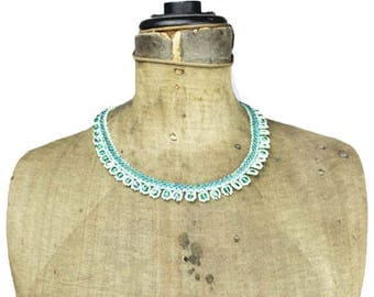 Green Seed Bead Collar Necklace, Green Seed Bead Bib Necklace, Green Choker Necklace, Green Bead Necklace, Green Necklace