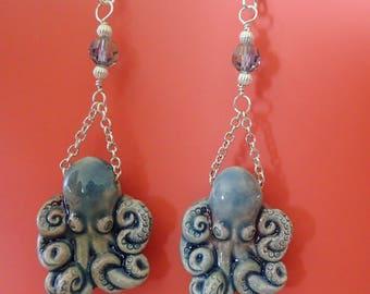 Raku Octopus Swarovski Earrings