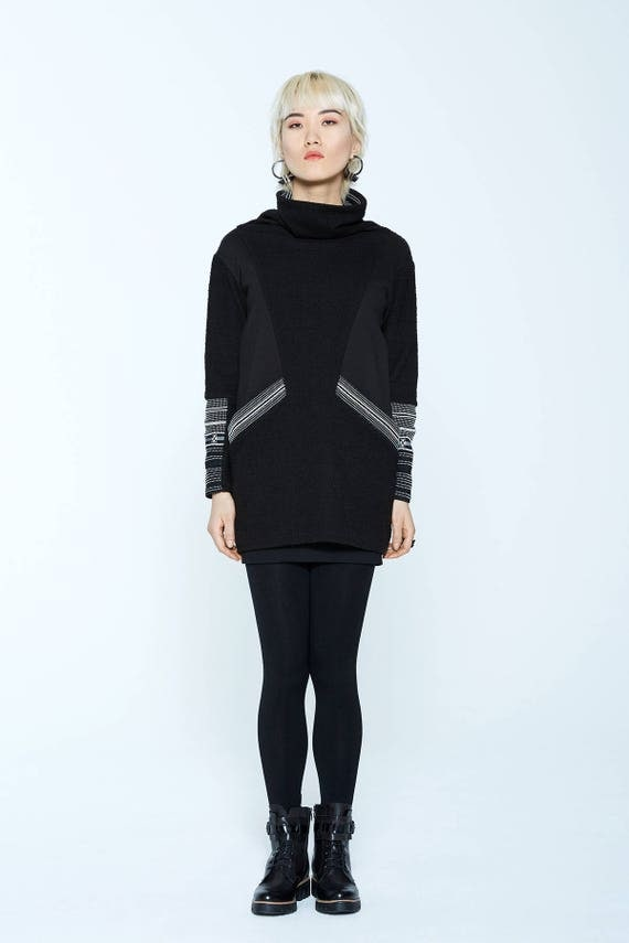 EDGEWOOD - long sleeves and turtleneck knit tunic for womens - black