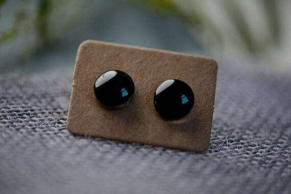 Black Glass Earrings - Surgical Steel Hypoallergenic Green Studs - Free Postage Sensitive Earrings