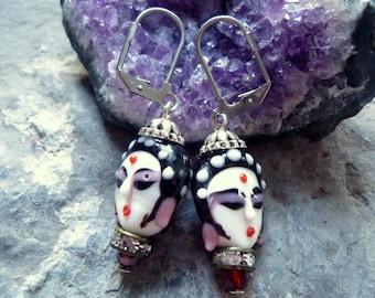 geisha earring, ethnic earring, goddess earing, bijoux geisha, boucles d'oreilles, asian earring, woman earring, christmas earring, bijoux