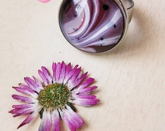 Mauve jewelry, burgundy ring, lilac ring, swirl jewelry, rose marble, striped hippie ring, purple marble, painted on water, FREE shipping