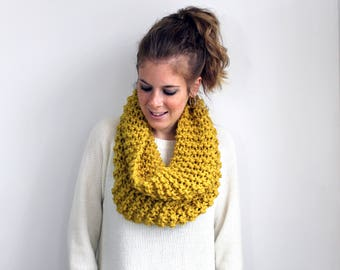 Citron Knitted Scarf Cowl Chunky- Potomac Cowl