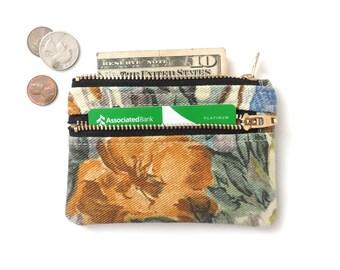 Slim Wallet Pouch Double Zipper Coin Purse Floral Denim