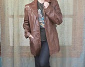 Men's Vintage Style Coats and Jackets 1970s Brown Bermans Leather Jacket Faux Fur Lining Vintage Outerwear Western Hipster Leather Jacket 70s Rocker Leather Coat Unisex Menswear $42.00 AT vintagedancer.com