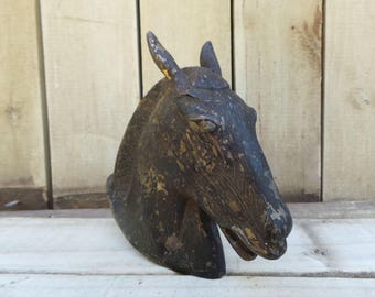 Antique Horse Head black silver architectural sculpture mounted figurehead pot metal banister clock figural bookend mast country farm decor