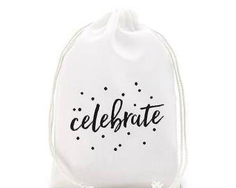 celebrate Print Muslin Drawstring Favor Bag (12)