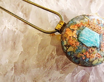Powerful Orgone Pendant - Peach Quartz/Amazonite/Blue Apatite/Blue Calcite - FREE WORLDWIDE SHIPPING!