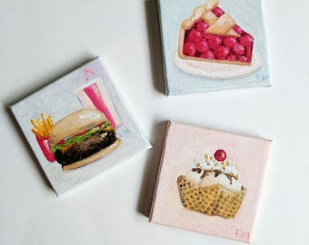 Ice Cream Waffle Bowl Painting - Original Mini Oil Painting - 3 x 3 canvas