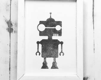 Robot Print on Wood 8x11