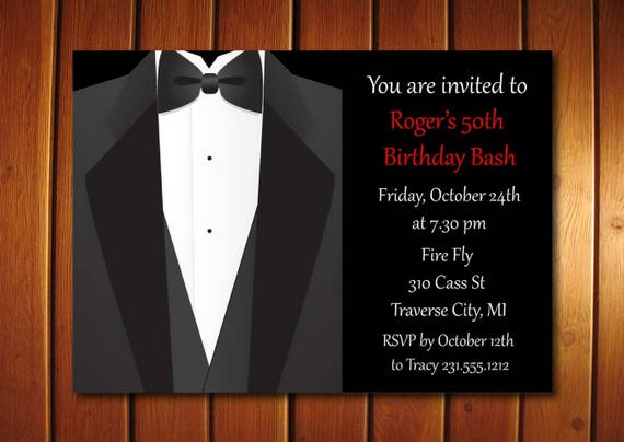 tuxedo adult birthday party invitation for men