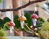 Toadstool Crystal Christmas Ornaments