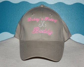 Daddy's Fishing Buddy Baseball cap - Youth Girl's Ball Cap - Custom Fishing Hat for Girls - Summer Youth Baseball Hat - Embroidered Ball Cap