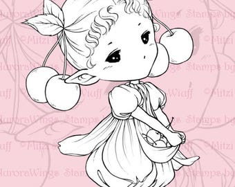 PNG Digital Stamp - Cherry Sprite - Whimsical Fruit Fairy Image - Fantasy Line Art for Cards & Crafts by Mitzi Sato-Wiuff at Aurora Wings