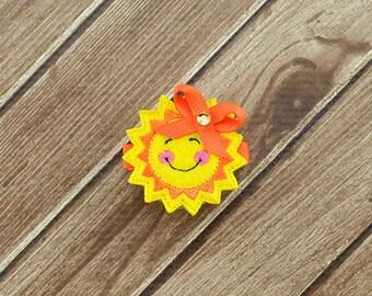 Sun Hair Clip, Sun Feltie, Sun Felt Clip, Sunshine Hair Clip, Toddler Hair Clip, Baby Hair Clips, Sun Hair Bows, Sun Clip, Summer Clip