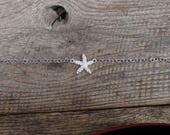 Crystal Starfish Anklet, Beach Jewelry, Summer Jewelry, Sea Life Jewelry, Boho Jewelry