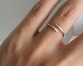 Thin Gold Ring . Minimalist Gold Ring . Rose Gold Open Front Ring