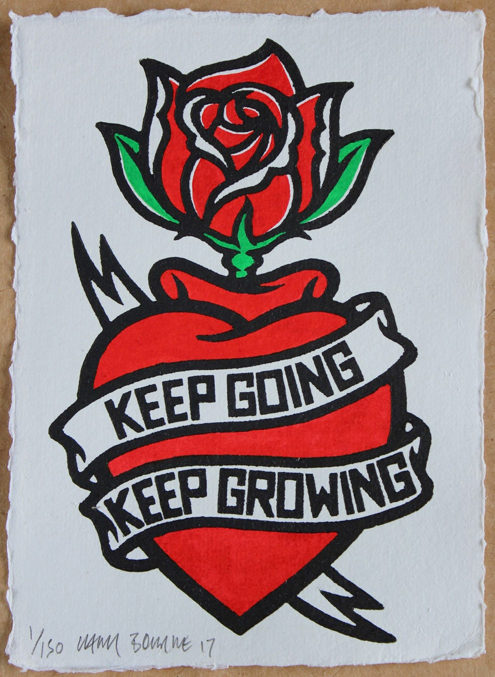 Keep Going Keep Growing New Rose Edition A Linocut Of A