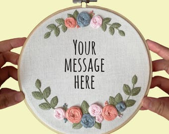 Embroidered Frame (Rosey) - Custom message