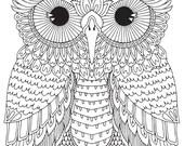 HELLO ANGEL - Harrington Owl Colouring Page