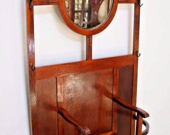 Antique English Quarter Sawn Tiger Oak Mirrored Hall Tree Coat Rack seat Storage Please call for shipping rates