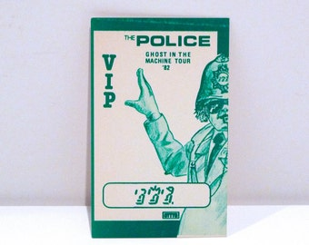 The Police Backstage Pass 1982 - Your Choice Vintage Otto Satin Fabric All Area Pass Or Paper VIP Ticket Pass Concert Tour 80s Mohawk Music