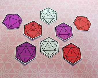 D20 Stickers   Polyhedral D&D Tabletop RPG Gaming Dice Stickers