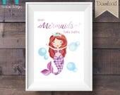 INSTANT DOWNLOAD - Bathroom Print - Even Mermaids Take Baths - Purple - Printable Digital File