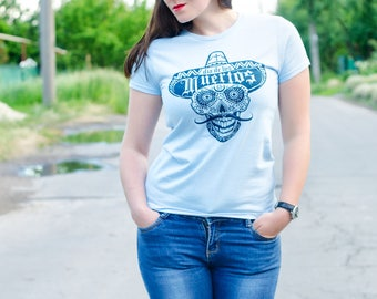 Womens Day Of The Dead Skull Tee, Premium Skull T-shirts