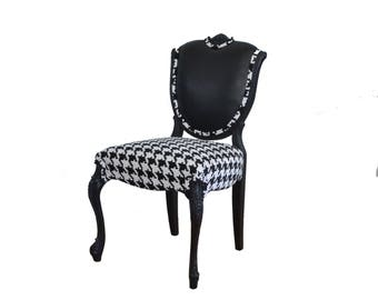 French Vintage Chair Leather Houndstooth Horsehair Upholstered