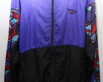 """Rare 90's Vintage """"REEBOK"""" Abstract Patterned Colorful Windbreaker Jacket  Sz: X-LARGE (Men's Exclusive)"""