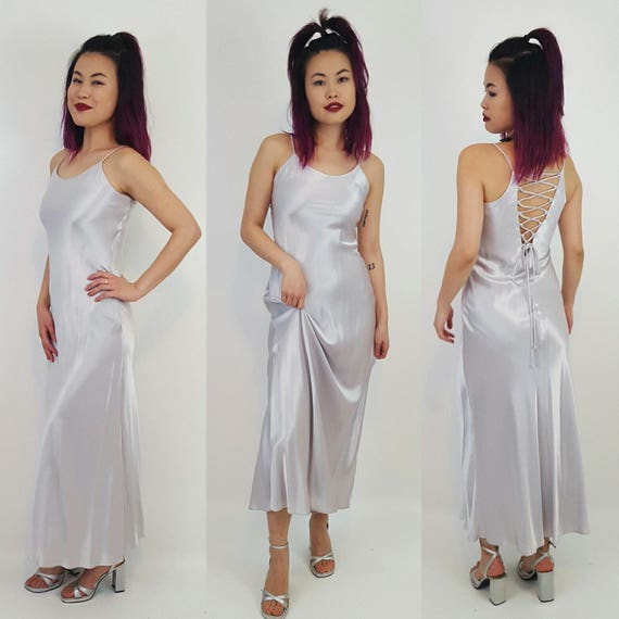 1990s Vintage Silver Lace Up Slip Dress Gown - 90s Minimalist Prom Maxi Sexy Dress XS Extra Small -  Romantic Metallic Long Formal Dress