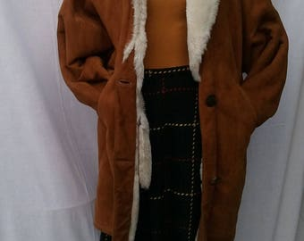 Vintage 80s Tan Suede Shearling Coat Made In Italy Blanket Oversized Style Coat Pre Christmas Sale Reduced! Was 60 now 40!