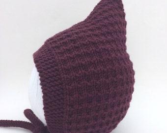 Pixie Bonnet, Toddler Hat, Plum Merino Wool, Baby Shower Gift, Infant Pixie Cap, Hand Knitted Bonnet, Sizes Newborn - Age 24 months