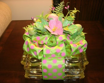 Easter Table Arrangement - Home Decor - Spring Centerpiece - Easter Centerpiece - Lighted Glass Block Decorations, Spring Decor, Nightlight,