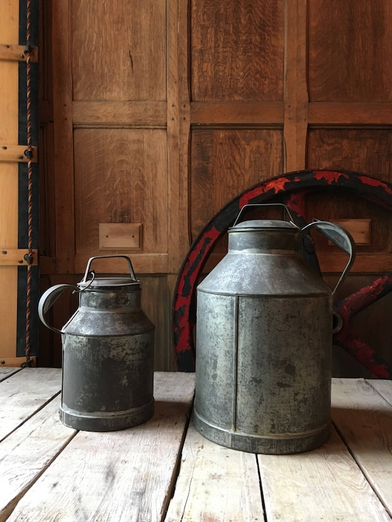 Pair Of Vintage Milk Carriers, Johnson Dairy Milk Cans, Dairy Cans, Farmhouse Decor, Rustic Decor