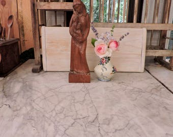 Mary And Child Wooden Sculpture-Vintage Carved Olive Wood Mother and Child Statue-Christian Religious Art-Objects of Devotion-Nordic Home