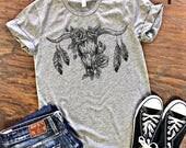 SALE ** Cowgirl Gypsy Skull Steer Bull Do No Harm But Take No Bull T-shirt
