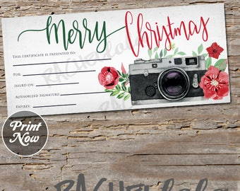 Christmas Camera, printable Gift Certificate template, photography session, photo gift voucher, camera gift card, instant digital download