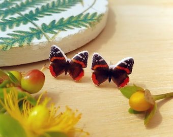Red Admiral, Butterfly Earrings, Stud Earrings, Botanical Accessories, Insect Jewellery, Nature Gift, Bugs, Insect Earrings, Insect Studs