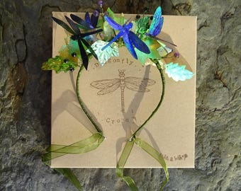 Shimmering Dragonfly Crystal Leaf Crown