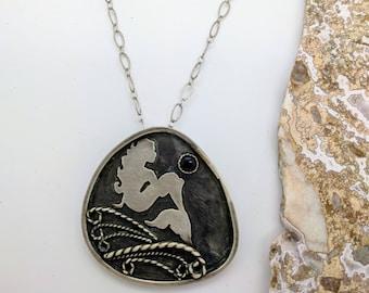 mermaid handmade sterling silver necklace