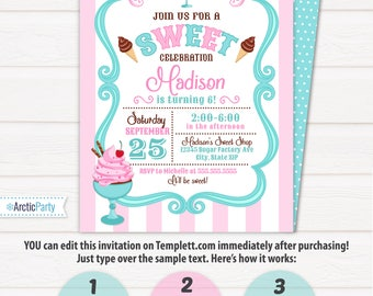 Ice cream Party Invitations - Ice Cream Invitation - Ice Cream Birthday - INSTANT ACCESS to file - EDIT with Templett.com in your browser!