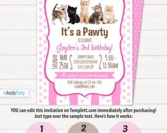 Cat Party Invitations - Kitten Party Invitations - Cat Birthday Party Invitations - Kitten Birthday - INSTANT ACCESS - Edit NOW!!