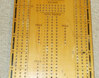 Vintage Century Continuous Track Cribbage Crib Board Solid Wood Wooden Made In USA Pegs And Storage