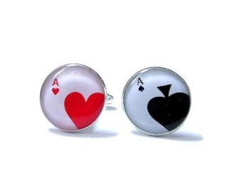 POKER CUFFLINKS - Lucky Heart A Poker - Playing Cards Cuff Links - Wedding Cuff Links - Personalized Cuff Links - Groom Cuff Links