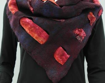 Scarf, silk& felt. Handmade wool, silk shawl for women. Dark purple rose