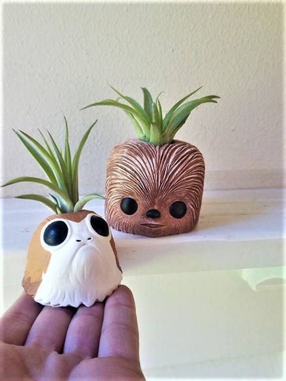 Porg and Chewbacca planter gift set, star wars inspired air plant holder, geeky gift, air plant gift set