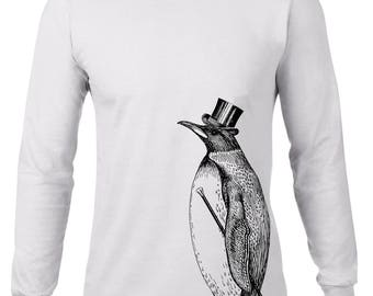 Long Sleeve Shirt, Dapper Penguin Tshirt, Fancy Top Hat and Cane, Hipster Animal Tee, Funny T Shirt, Ringspun Cotton, Mens Plus Size
